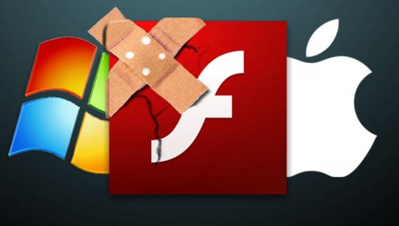 Abb. der Logos von Windows und Apple. Darüber das Adobe Flash-Logo mit einem Pflaster im linken oberen Eck.