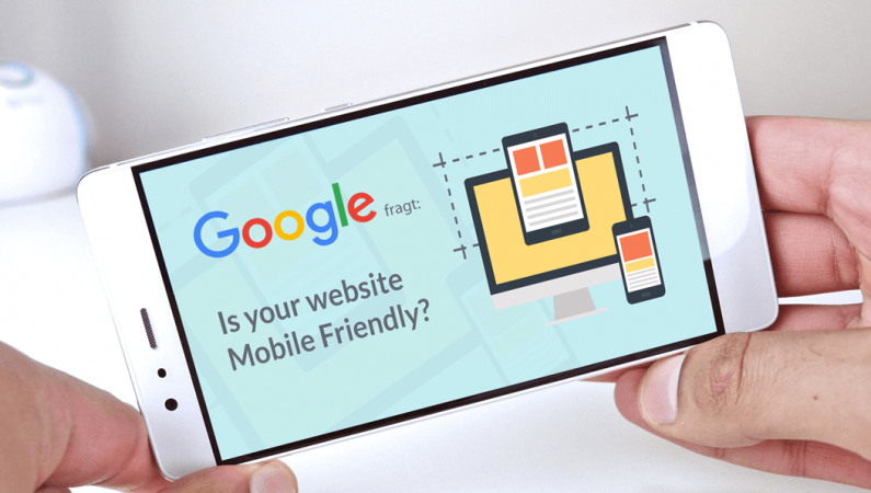 Google Mobile Index: Abb. eines Handys mit der Frage auf dem Disolay, ob die Website 'Mobile Friendly' ist