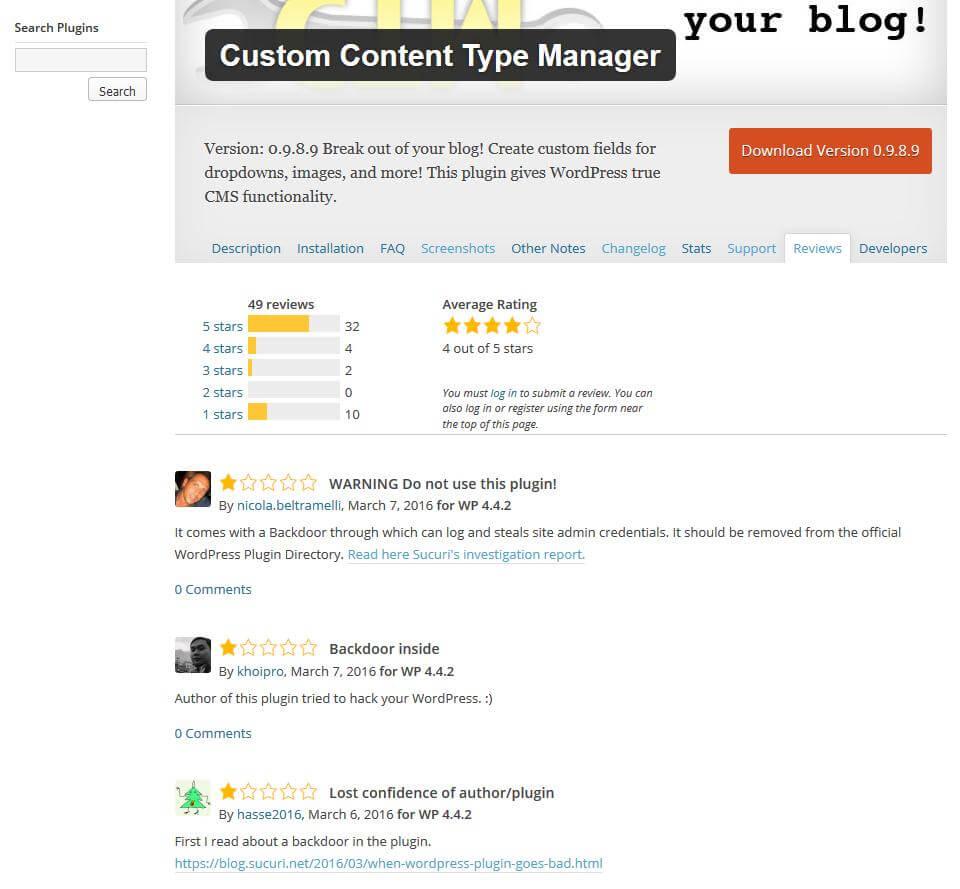 """Abb. der Reviews des Plugins """"CustomContent Type Manager"""" mit Warnungen der Benutzer vor dem infizierten Plugin"""