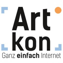 Artkon Logo: qudratisch. Schriftzug mit Begrenzungswinkeln. Im rechten oberen Eck ein Begrenzungskreis. Darunter Slogan: