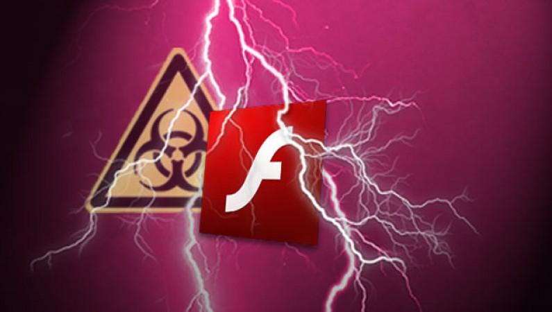 Abb. des Adobe Flash-Logos vor einem Blitz, ein 'Hazard'-Symbol im Hintergrund