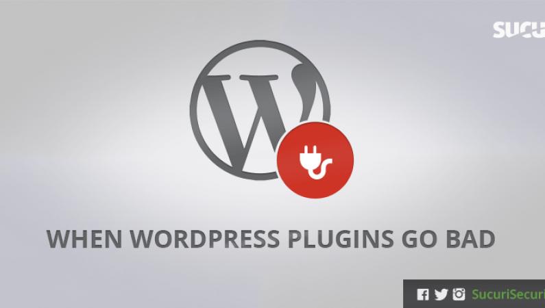 Backdoor-Trojaner: WordPress-Logo mit Stecker und dem Sucuri-Logo im rechten oberen Eck